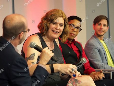 Nick Adams, Lilly Wachowskis, Steven Canals, Alex Blue Davis. Moderator Nick Adams, Director of Transgender Representation for GLAAD, from left, and panelists Lilly Wachowskis, Steven Canals, and Alex Blue Davis take part in The Power of TV: Trans Visibility in Storytelling, a Television Academy Foundation public event focused on representation of trans individuals in television and the pathways to increased visibility, at the Television Academy's Saban Media Center on in North Hollywood, Calif