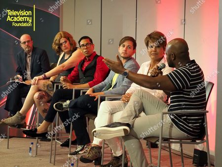 Stock Image of Nick Adams, Lilly Wachowskis, Steven Canals, Alex Blue Davis, Alexandra Billings, Brian Michael Smith. Moderator Nick Adams, Director of Transgender Representation for GLAAD, from left, and panelists Lilly Wachowskis, Steven Canals, Alex Blue Davis, Alexandra Billings, and Brian Michael Smith take part in The Power of TV: Trans Visibility in Storytelling, a Television Academy Foundation public event focused on representation of trans individuals in television and the pathways to increased visibility, at the Television Academy's Saban Media Center on in North Hollywood, Calif