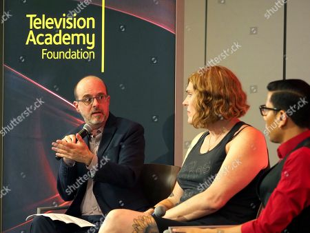 Nick Adams, Lilly Wachowskis, Steven Canals. Moderator Nick Adams, Director of Transgender Representation for GLAAD, from left, and panelists Lilly Wachowskis, and Steven Canals take part in The Power of TV: Trans Visibility in Storytelling, a Television Academy Foundation public event focused on representation of trans individuals in television and the pathways to increased visibility, at the Television Academy's Saban Media Center on in North Hollywood, Calif