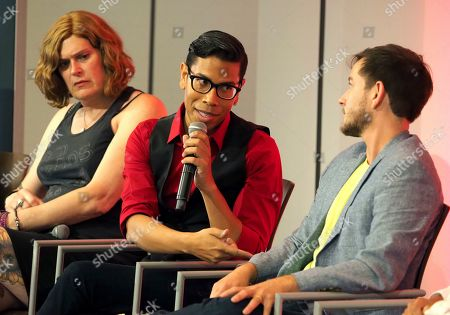 Stock Picture of Lilly Wachowskis, Steven Canals, Alex Blue Davis. Lilly Wachowskis, from left, Steven Canals, and Alex Blue Davis take part in The Power of TV: Trans Visibility in Storytelling, a Television Academy Foundation public event focused on representation of trans individuals in television and the pathways to increased visibility, at the Television Academy's Saban Media Center on in North Hollywood, Calif