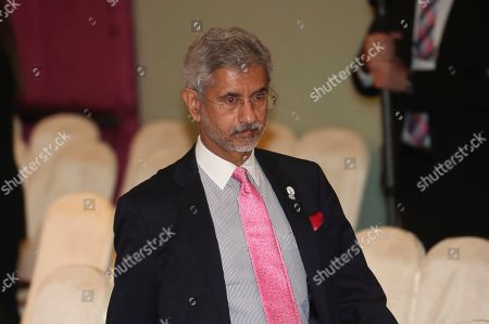 India's External Affairs Minister S. Jaishankar walks after a group photo session at the East Asia Summit meeting in Bangkok, Thailand, . India on Friday again rejected President Donald Trump's offer to mediate its dispute with Pakistan over Kashmir
