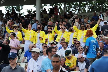 Fans in the Hollies stand dressed at Freddie Mercury during the International Test Match 2019 match between England and Australia at Edgbaston, Birmingham