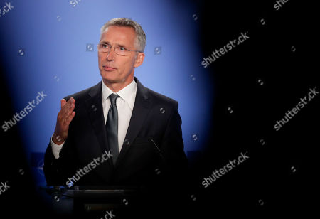 NATO Secretary General Jens Stoltenberg give a press conference on Intermediate-Range Nuclear Forces Treaty at the NATO headquarter in Brussels, Belgium, 02 August 2019. The Intermediate-Range Nuclear Forces Treaty was an arms control treaty between the United States and the Soviet Union (Russia). US President Ronald Reagan and Soviet General Secretary Mikhail Gorbachev signed the treaty on 08 December 1987. US formally withdraws from Intermediate-Range Nuclear Forces Treaty with Russia on 02 August 2019.