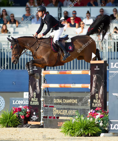 Scott Brash (GBR) riding Hello Mr President for Team New York Empire during the Global Champions League Phase One