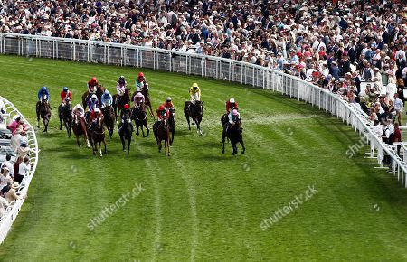 Billesdon Brook ridden by Sean Levey leads the field after winning the Theo Fennell Oak Tree Stakes.