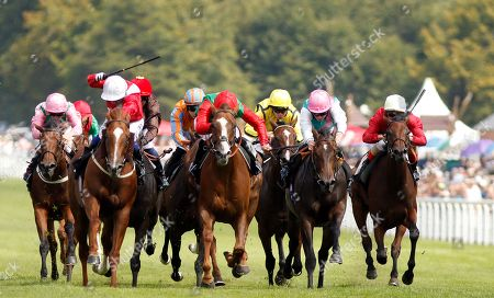 BILLESDON BROOK (centre, Sean Levey) beats PERFECTION (left) and JUBILOSO (2nd right) in The Theo Fennell Oak Tree Stakes Goodwood