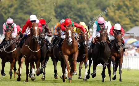 BILLESDON BROOK (centre, Sean Levey) beats PERFECTION (left) and JUBILOSO (right) in The Theo Fennell Oak Tree Stakes Goodwood