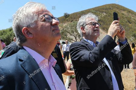 European Commissioner for Humanitarian Aid and Crisis Management Christos Stylianides (R) with Portuguese Minister of Internal Administration Eduardo Cabrita during a visit to Portimo, Portugal, 02 August 2019.