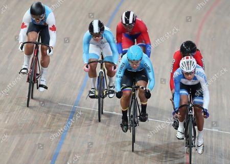 Stock Image of Kelsey Marie Mitchell of Canada, from left, Joanne Nicole Rodriguez of Guatemala, Lisandra Guerra of Cuba, Martha Bayona of Colombia, Natalia Vera of Argentina, and Yuli Paola Verdugo of Mexico, ride in the cycling track women's keirin at the Pan American Games in Lima, Peru, . Bayona of Colombia went on to win the gold medal in the event