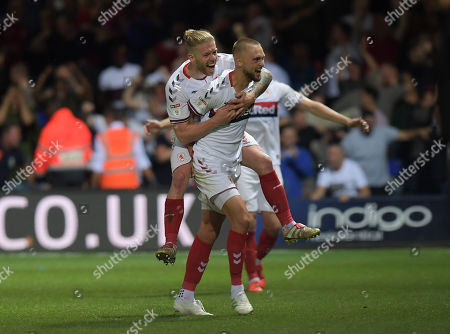 Lewis Wing of Middlesbrough celebrates his goal with Adam Clayton, 2-3