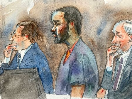 In this courtroom sketch, R&B singer R. Kelly, center, listens in federal court with his attorneys Doug Anton, left, and Steve Greenberg during his arraignment, in New York. Kelly pleaded not guilty to federal charges he sexually abused women and girls. The 52-year-old Kelly was denied bail in a Brooklyn courtroom packed with his supporters