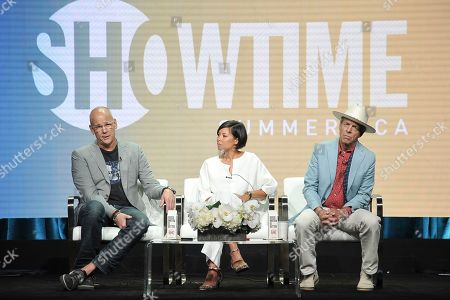 "John Heilemann, Alex Wagner, Mark McKinnon. Alex Wagner, from left, AlexWagner and Mark McKinnon participates in the Showtime ""The Circus"" panel during the Summer 2019 Television Critics Association Press Tour at the Beverly Hilton Hotel, in Beverly Hills, Calif"