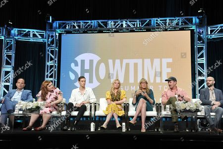 """Mel Rodriguez, Beth Ditto,Theodore Pellerin, Kirsten Dunst, Esta Spalding, Robert Funke, Matt Lutsky. Mel Rodriguez, from left, Theodore Pellerin, Kirsten Dunst, Esta Spalding, Robert Funke and Matt Lutsky participate in the Showtime """"On Becoming a God in Central Florida"""" panel during the Summer 2019 Television Critics Association Press Tour at the Beverly Hilton Hotel, in Beverly Hills, Calif"""