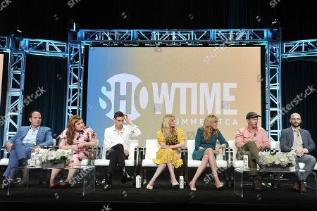 """Stock Photo of Mel Rodriguez, Beth Ditto,Theodore Pellerin, Kirsten Dunst, Esta Spalding, Robert Funke, Matt Lutsky. Mel Rodriguez, from left, Theodore Pellerin, Kirsten Dunst, Esta Spalding, Robert Funke and Matt Lutsky participate in the Showtime """"On Becoming a God in Central Florida"""" panel during the Summer 2019 Television Critics Association Press Tour at the Beverly Hilton Hotel, in Beverly Hills, Calif"""