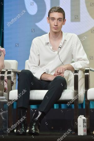 """Stock Picture of Theodore Pellerin participates in the Showtime """"On Becoming a God in Central Florida"""" panel during the Summer 2019 Television Critics Association Press Tour at the Beverly Hilton Hotel, in Beverly Hills, Calif"""