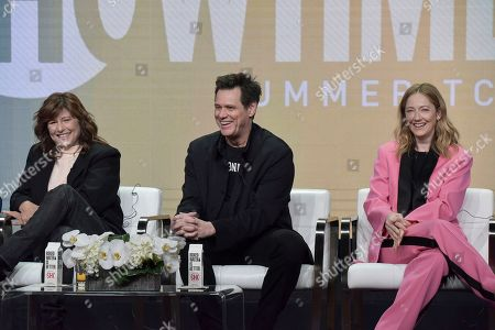 "Catherine Keener, Jim Carrey, Judy Greer. Catherine Keener, from left, Jim Carrey and Judy Greer participate in the Showtime ""Kidding"" panel during the Summer 2019 Television Critics Association Press Tour at the Beverly Hilton Hotel, in Beverly Hills, Calif"