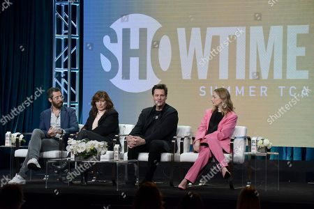 "Dave Holstein, Catherine Keener, Jim Carrey, Judy Greer. Dave Holstein, from left, Catherine Keener, Jim Carrey and Judy Greer participate in the Showtime ""Kidding"" panel during the Summer 2019 Television Critics Association Press Tour at the Beverly Hilton Hotel, in Beverly Hills, Calif"