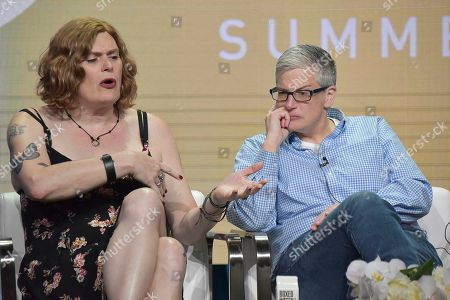 "Lilly Wachowski, Abby McEnany. Lilly Wachowski, left, and Abby McEnany participate in the Showtime ""Work in Progress"" panel during the Summer 2019 Television Critics Association Press Tour at the Beverly Hilton Hotel, in Beverly Hills, Calif"