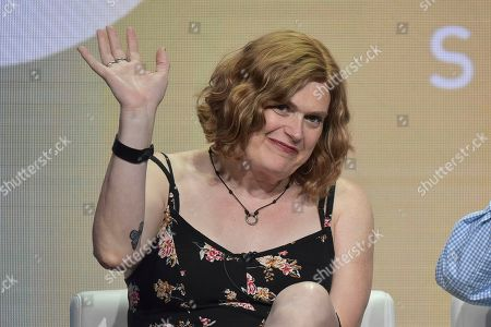 "Lilly Wachowski participates in the Showtime ""Work in Progress"" panel during the Summer 2019 Television Critics Association Press Tour at the Beverly Hilton Hotel, in Beverly Hills, Calif"