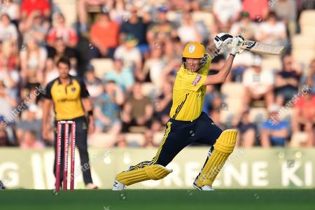 Chris Morris of Hampshire batting during the Vitality T20 Blast South Group match between Hampshire County Cricket Club and Glamorgan County Cricket Club at the Ageas Bowl, Southampton