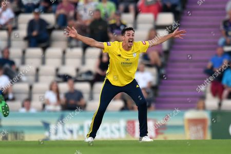 Chris Wood of Hampshire appealing for the wicket of David Lloyd during the Vitality T20 Blast South Group match between Hampshire County Cricket Club and Glamorgan County Cricket Club at the Ageas Bowl, Southampton