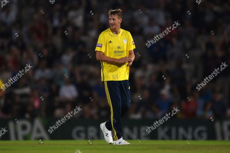Chris Morris of Hampshire celebrates the wicket of during the Vitality T20 Blast South Group match between Hampshire County Cricket Club and Glamorgan County Cricket Club at the Ageas Bowl, Southampton