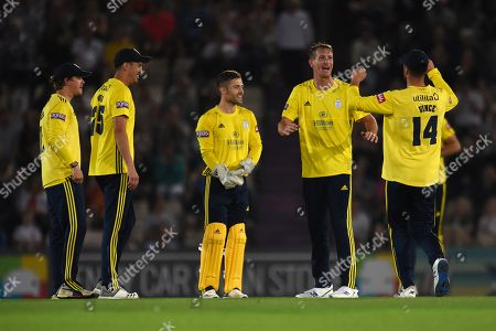 Chris Morris and Hampshire celebrate the wicket of Jeremy Lawlor during the Vitality T20 Blast South Group match between Hampshire County Cricket Club and Glamorgan County Cricket Club at the Ageas Bowl, Southampton
