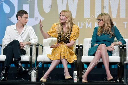 """Theodore Pellerin, Kirsten Dunst, Esta Spalding. Theodore Pellerin, from left, Kirsten Dunst and Esta Spalding participate in the Showtime """"On Becoming a God in Central Florida"""" panel during the Summer 2019 Television Critics Association Press Tour at the Beverly Hilton Hotel, in Beverly Hills, Calif"""
