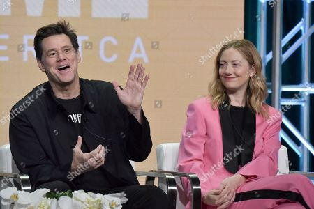 "Jim Carrey, Judy Greer. Jim Carrey, left, and Judy Greer participate in the Showtime ""Kidding"" panel during the Summer 2019 Television Critics Association Press Tour at the Beverly Hilton Hotel, in Beverly Hills, Calif"