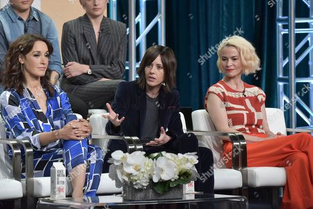 "Jennifer Beals, Katherine Moennig, Leisha Hailey. Jennifer Beals, from left, Katherine Moennig and Leisha Hailey participate in the Showtime participates in the Showtime ""The L Word: Generation Q"" panel during the Summer 2019 Television Critics Association Press Tour at the Beverly Hilton Hotel, in Beverly Hills, Calif"