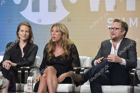 """Laura Solon, Daisy Haggard, Harry Williams. Laura Solon, from left, Daisy Haggard and Harry Williams participate in the Showtime """"Back To Life"""" panel during the Summer 2019 Television Critics Association Press Tour at the Beverly Hilton Hotel, in Beverly Hills, Calif"""