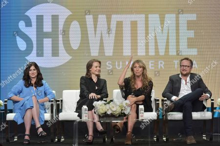 """Sarah Hammond, Laura Solon, Daisy Haggard, Harry Williams. Sarah Hammond, from left, Laura Solon, Daisy Haggard and Harry Williams participate in the Showtime """"Back To Life"""" panel during the Summer 2019 Television Critics Association Press Tour at the Beverly Hilton Hotel, in Beverly Hills, Calif"""