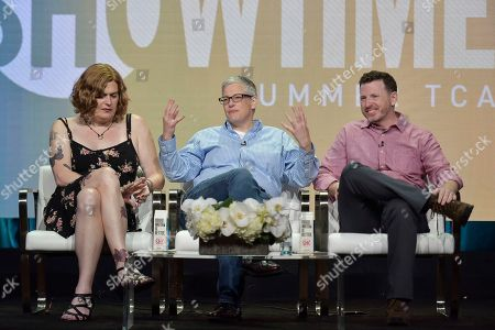 "Lilly Wachowski, Abby McEnany, Tim Mason. Lilly Wachowski, from left, Abby McEnany and Tim Mason participate in the Showtime ""Work in Progress"" panel during the Summer 2019 Television Critics Association Press Tour at the Beverly Hilton Hotel, in Beverly Hills, Calif"