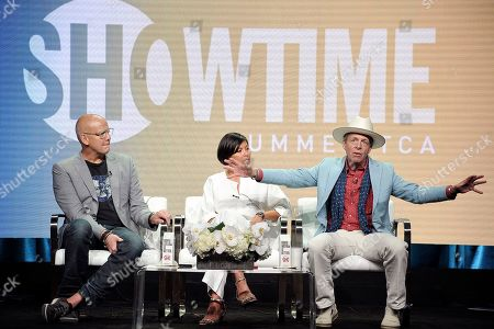 "John Heilemann, Alex Wagner, Mark McKinnon. John Heilemann, from left, Alex Wagner and Mark McKinnon participates in the Showtime ""The Circus"" panel during the Summer 2019 Television Critics Association Press Tour at the Beverly Hilton Hotel, in Beverly Hills, Calif"
