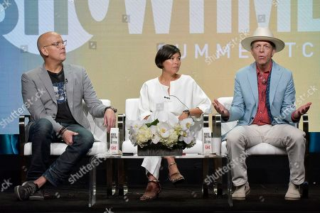 "John Heilemann, Alex Wagner, Mark McKinnon. Alex Wagner, from left, Alex Wagner and Mark McKinnon participates in the Showtime ""The Circus"" panel during the Summer 2019 Television Critics Association Press Tour at the Beverly Hilton Hotel, in Beverly Hills, Calif"