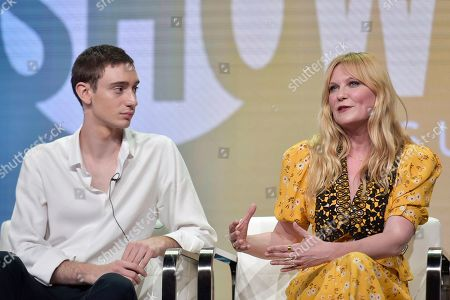 """Theodore Pellerin, Kirsten Dunst. Theodore Pellerin, left, and Kirsten Dunst participate in the Showtime """"On Becoming a God in Central Florida"""" panel during the Summer 2019 Television Critics Association Press Tour at the Beverly Hilton Hotel, in Beverly Hills, Calif"""