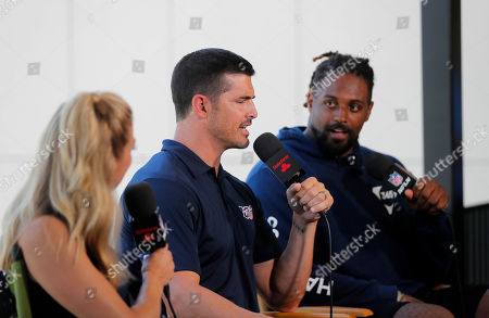 NFL Network show host Amber Theoharis, analyst David Carr and New Orleans Saints defensive end Cameron Jordan on the set during the Saints training camp at their NFL football training facility in Metairie, La