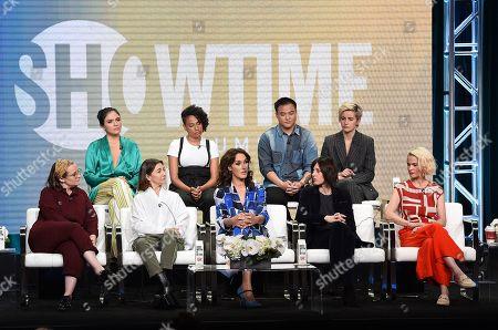 Marja-Lewis Ryan with Ilene Chaiken, Jennifer Beals, Katherine Moennig, Leisha Hailey, Arienne Mandi, Rosanny Zayas, Leo Sheng and Jacqueline Toboni