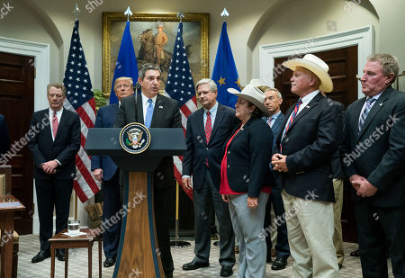Stavros Lambrinidis, the Ambassador of the European Union to the United States, speaks alongside US President Donald Trump, U.S. Trade Representative Robert Lighthizer (L), Sen. John Hovan, R-ND, and members of the beef industry as he speaks on a US beef trade deal with the European Union, in the Roosevelt Room at the White House in Washington, DC, USA, 02 August 2019.