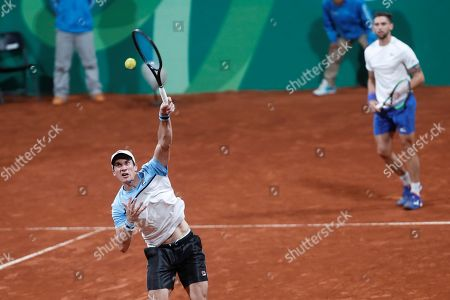 Stock Photo of Guido Andreozzi (L) and Facundo Bagnis (R) of Argentina in action during the Men's Doubles Tennis final match against Ecuador at the 2019 Pan American Games in Lima, Peru, 03 August 2019.