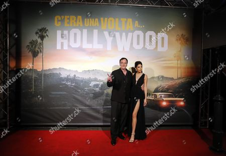 Quentin Tarantino (L) with his wife Daniela Pick (R) at the Italian Premiere and red carpet of the movie, Once upon a time in... Hollywood, in Rome, Italy, 02 August 2019.