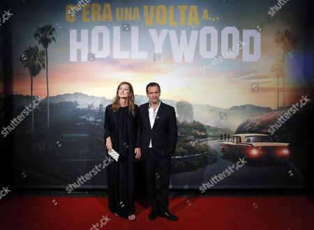 David Heyman (R) with his wife Rose Uniacke (L) at the Italian Premiere and red carpet of the movie, Once upon a time in... Hollywood, in Rome, Italy, 02 August 2019.