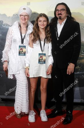 Stock Image of Leonardo Di Caprio's father George Di Caprio (R) and his stepmother Peggy Ann Farrar (L) at the Italian Premiere and red carpet of the movie, Once upon a time in... Hollywood, in Rome, Italy, 02 August 2019.