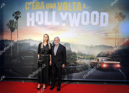 Aurelio De Laurentiis (R) with his wife Jacqueline Baudit (L) at the Italian Premiere and red carpet of the movie, Once upon a time in... Hollywood, in Rome, Italy, 02 August 2019.