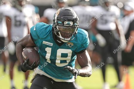 Jacksonville Jaguars wide receiver Chris Conley runs after making a reception during a scrimmage at an NFL football practice at the teams stadium, in Jacksonville, Fla