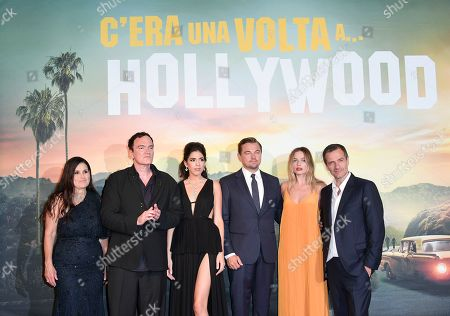 Stock Photo of Shannon McIntosh, Quentin Tarantino, Daniela Pick, Leonardo DiCaprio, Margot Robbie and David Heyman