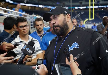 Detroit Lions head coach Matt Patricia meets the media at an open practice at Ford Field, in Detroit