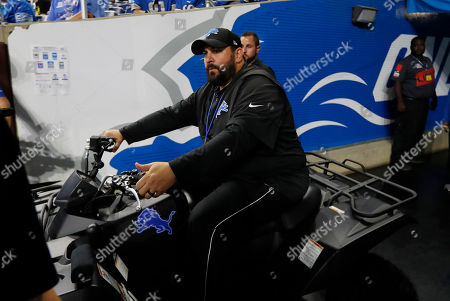Detroit Lions head coach Matt Patricia arrives for an open practice at Ford Field, in Detroit