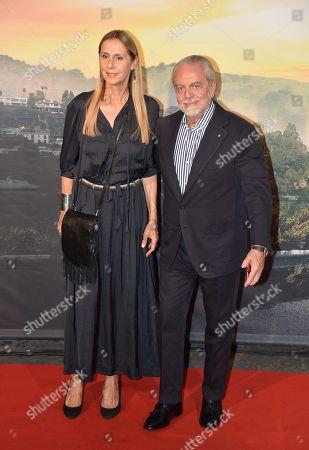 Stock Picture of Aurelio De Laurentis with his wife Jacqueline