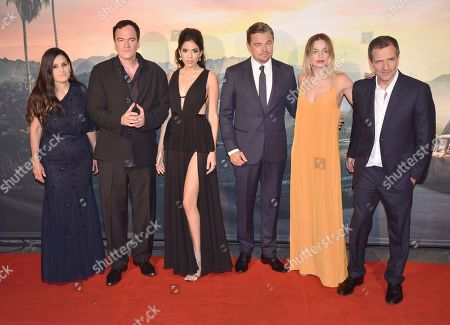 Stock Picture of Shannon McIntosh, Quentin Tarantino, Daniela Pick, Leonardo DiCaprio, Margot Robbie and David Heyman